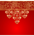 Valentines day greeting card red background vector image