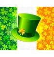 Saint Patricks hat on Irish flag vector image vector image