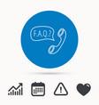 faq service icon support speech bubble sign vector image