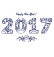 2017 numbers with floral pattern Happy New Year vector image