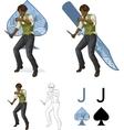 Jack of spades afroamerican brawling man Mafia vector image
