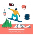 set snowboarding clothes and elements vector image