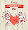 Two cupids and red heart vector image