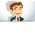 Businessman with horizontal big blank poster for vector image