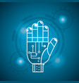 cyberspace hand with circuits system connect vector image