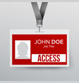 lanyard badge identity card for security vector image