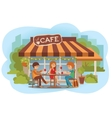 people at the cafe outdoor vector image