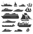 Ships and boats icons Barge cruise ship shipping vector image