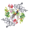 Watercolor hand drawn pattern with summer flowers vector image