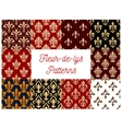 Fleur-de-lys royal lily seamless patterns set vector image