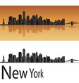 New York skyline in orange background vector image