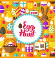 flat egg hunt postcard vector image