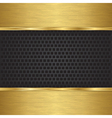 Abstract golden background with metallic speaker g vector image