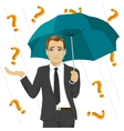 businessman under question marks with umbrella vector image