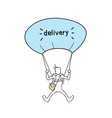 courier man flying on parachute hold box delivery vector image