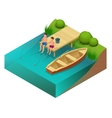 Little boys fishing in a river Sitting on a wood vector image
