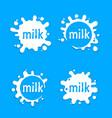 milk labels blot sign milk set splashing vector image