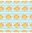 Seamless pattern with flock of cute cartoon vector image