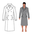 Mans coat outlined template front view vector image