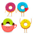 Funny donut characters set in leisure vector image