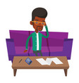 Unhappy african man accounting home bills vector image