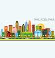 philadelphia skyline with color buildings and vector image