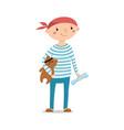 little boy sailor holding pirate teddy bear vector image