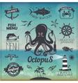 Set of Vintage seafood fish typography design vector image