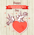 Two doves and red heart vector image vector image