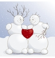 cute amorous snowmen with vector image