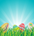 Easter Eggs on Glasses with Blue Sky Background vector image
