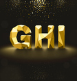 Golden Lowpoly Font from G to I vector image