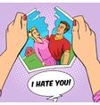 Hands tear photo of couple pop art vector image