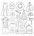 sketch monochrome summer vacation elements set vector image