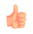 thumb up hand gesture success sign cartoon vector image