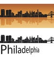 Philadelphia skyline in orange background vector image