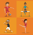 multicolored square buttons set of athletes of vector image