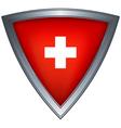 steel shield with flag switzerland vector image vector image