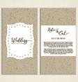 cardboard style wedding invite 0502 vector image