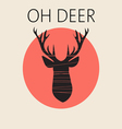Head of deer in outline over a red round frame vector image