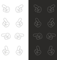 Cartoon black and white hands icon pointing vector image