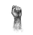 hand elbow raised up clenched fist engraving vector image