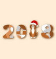happy chinese new year 2018 dog in santa hat vector image
