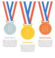 medals set on white background vector image