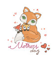 mothers day greeting card with cartoon fox vector image