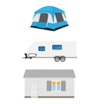Trailer tent and cottage vector image