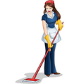 Woman Cleaning With Mop For Passover vector image