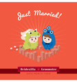 Cute kawaii groom monster and bridezilla character vector image
