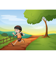 A girl running hurriedly at the hill vector image