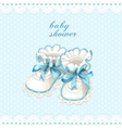 Blue booties baby shower card vector image
